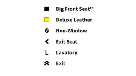 Aircraft Map Legend. Black Square = Big Front Seat. Yellow Square = Deluxe Leather. Oval with Diagonal Line = Non-Window. Left Arrow = Exit Seat. Uppercase L = Lavatory. 2 Upward arrows = Exit.