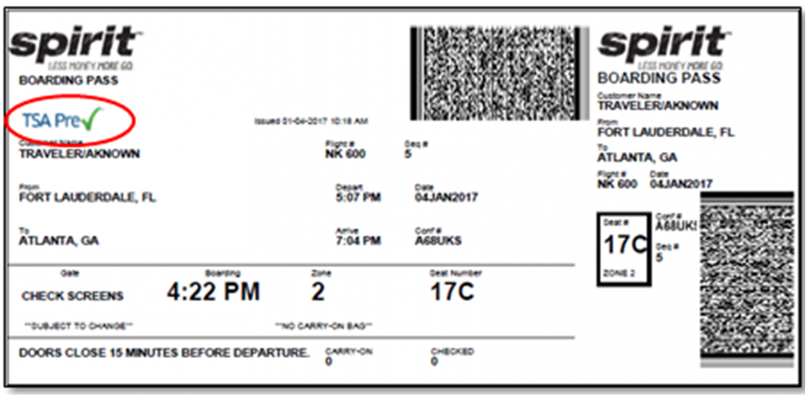 Image: TSA Precheck indicated on boarding pass