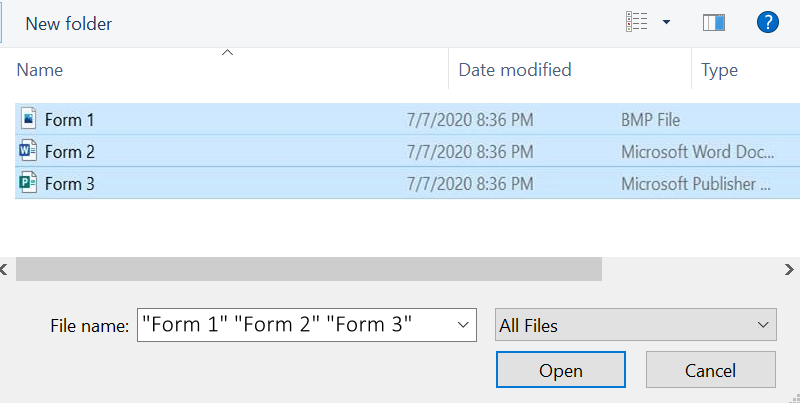 Image of multiple forms selected